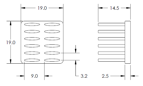 Mechanical Drawing of Elliptical Pin Heat Sink