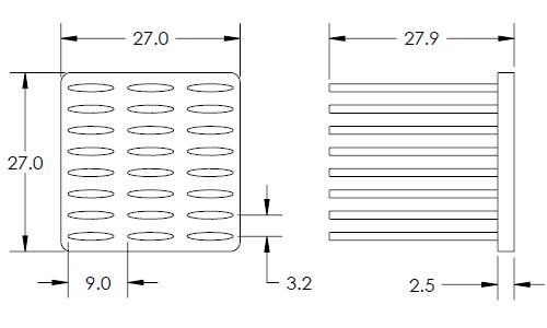 Mechanical Drawing of Elliptical Pin Heat Sink